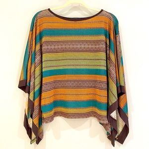 Tops - Striped Poncho Summer Top